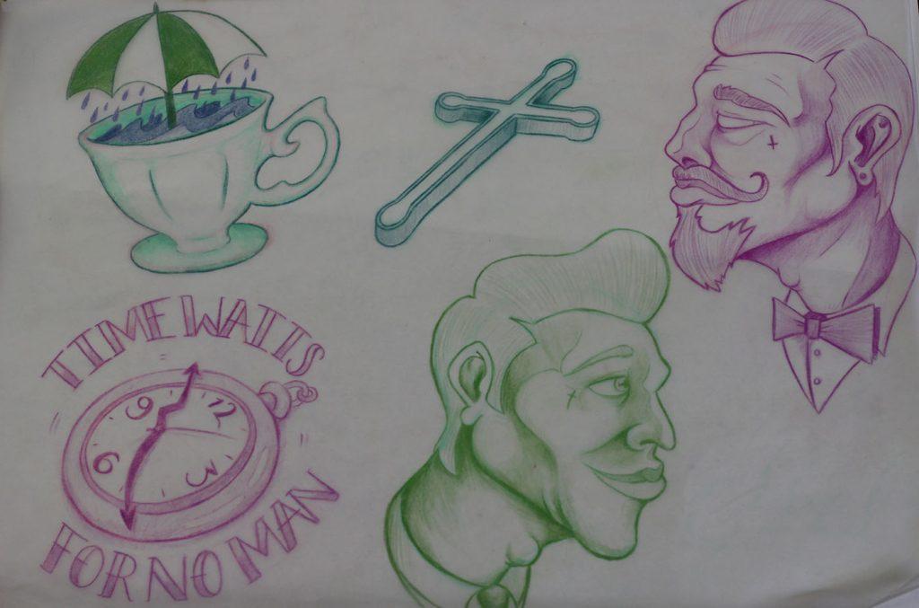 Kamen's Sketches: Clock, Cup & Gentlemen