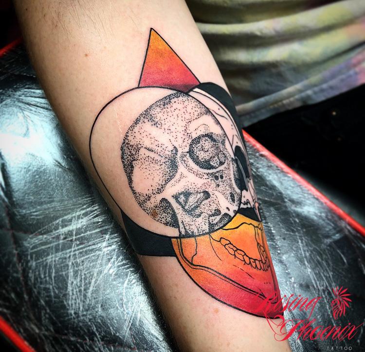 Dotwork, Black and Colour: Skull